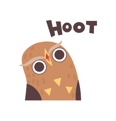 cute owl hooting wild cartoon bird making sound vector image