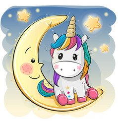 Cute unicorn in a pilot hat is sitting on the moon vector