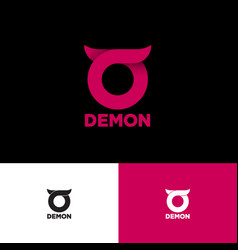 Demon logo round symbol small horns vector