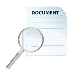 document and magnification glass vector image