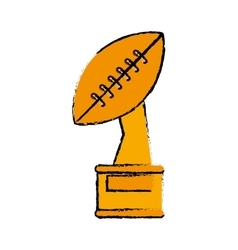 drawing trophy winner ball shape american football vector image