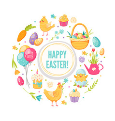 easter cartoon round concept vector image