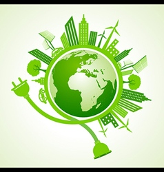 Eco city concept with earth stock vector image