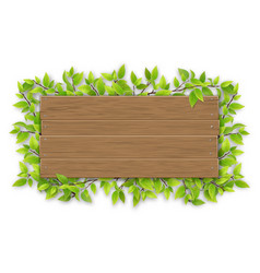 empty wooden sign with tree branch vector image