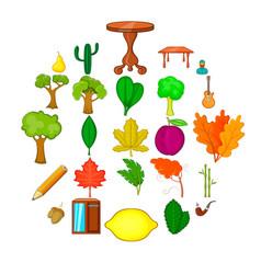 fallen foliage icons set cartoon style vector image