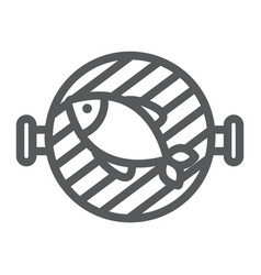Fish grill line icon food and sea barbecue sign vector