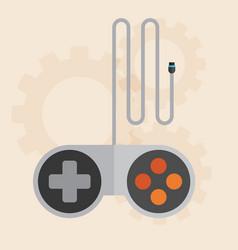 Flat joystick icongaming background vector