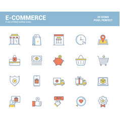 flat line filled icons design-e-commerce vector image