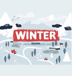flat winter snowy landscape scene small vector image