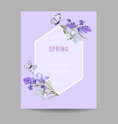 Floral bloom spring frame with purple iris flowers vector