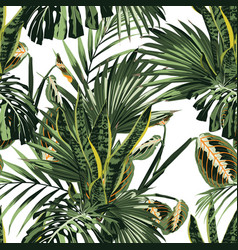floral fashion tropic wallpaper with palm leaves vector image