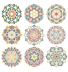 Flower Round Ornament Mandala Set vector image
