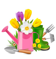Garden concept with pink watering can vector