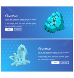 Gemstones turquoise and rhinestone blue minerals vector