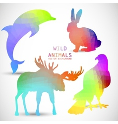 Geometric silhouettes of animals dolphin rabbit vector image