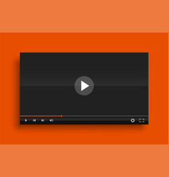 glossy modern video player template mockup vector image