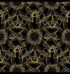 Gold lotus modern seamless pattern vector