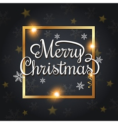 Golden frame and Merry Christmas lettering vector