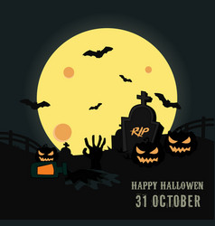halloween night background with pumpkin vector image