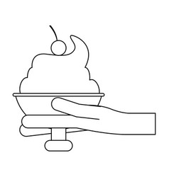 hand holding ice cream cup black and white vector image