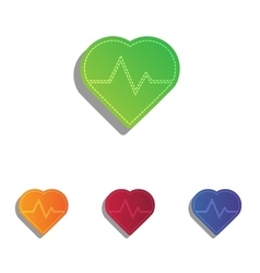 Heartbeat sign Colorfull applique vector image