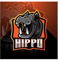 hippo esport mascot logo design vector image