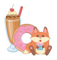 Isolated kawaii fox cartoon design vector