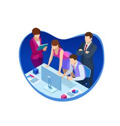 isometric business teamwork and digital marketing vector image