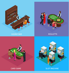 isometric people in casino square concept vector image