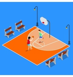 Isometric People Playing Basketball vector