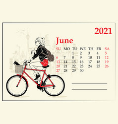June 2021 calendar with fashion girl in sketch vector