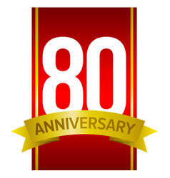 label for 80th anniversary celebration vector image