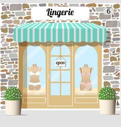 Lingerie shop building facade of stone vector