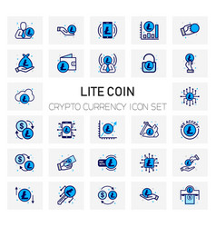Lite coin crypto currency icons set vector