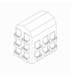 Low-rise building with balconies icon vector