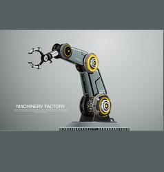 Machine robotic robot arm hand factory vector