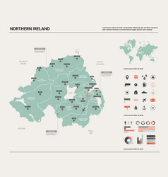 Map northern ireland high detailed country map vector