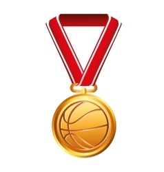 Medal award basketball sport isolated icon vector