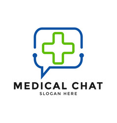medical chat app logo icon design template vector image