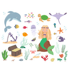 mermaid sea animals and seaweed cartoon vector image