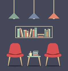 Modern Design Interior Chair and Bookshelf vector image