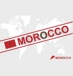 Morocco map flag and text vector