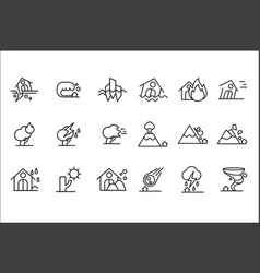 Natural disaster icon set storm flood volcanic vector