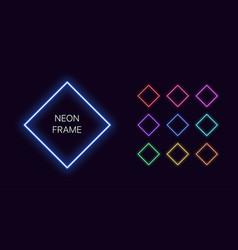 Neon monochrome rhomb border with copy space vector