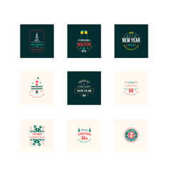 new year christmas label vector image