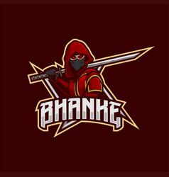 ninja mascot esport logo vector image