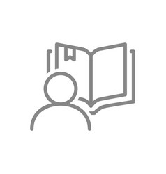 open book with human line icon reader review vector image