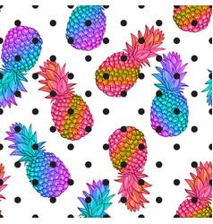 Pineapple creative trendy seamless pattern vector
