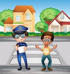 Policeman recording crime incident on the road vector