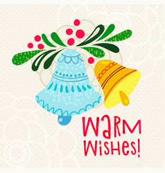 postcard with text warm wishes vector image